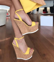 Moraima Snc Hot Selling Open Toe Platform Wedge Sandal for Woman Cutouts Super High Ankle Strap Gladiator Shoes Summer Heels