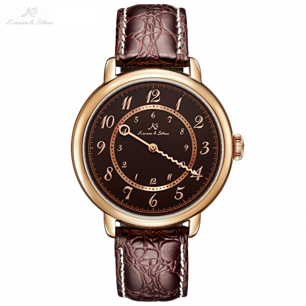 Kronen Sohne Automatic Analog Single Hand Rose Gold Case Brown Leather Band Mechanical Watch Men Business Wristwatch цена