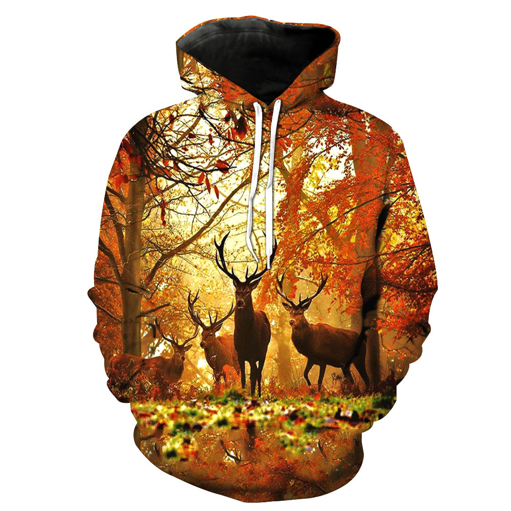 Tireless 2018 New Fashion Sweatshirt Men Women 3d Hoodies Print Forest Deer Animal Pattern Slim Unisex Slim Stylish Hooded Hoodies Harmonious Colors Men's Clothing