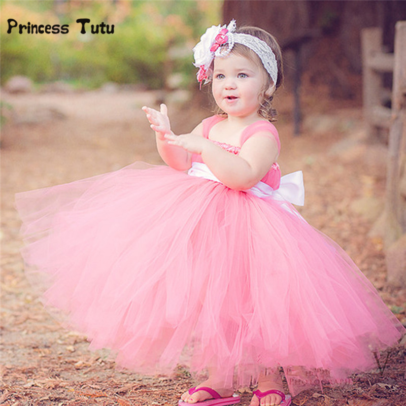 New Flower Girl Dresses Pink Tutu Dress Kids Party Wedding Ball Gown Princess Costume Baby Girls Festival Birthday Tulle Dress gorgeous pink and white girls tutu dress with headband princess birthday party wedding costume photo props tulle dress ts110