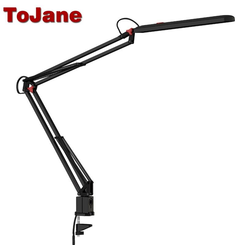 Tojane TG988 настольная лампа Клип офис светодио дный настольная лампа Гибкая светодио дный настольная лампа настольная светодио дный Light 3 уровн...
