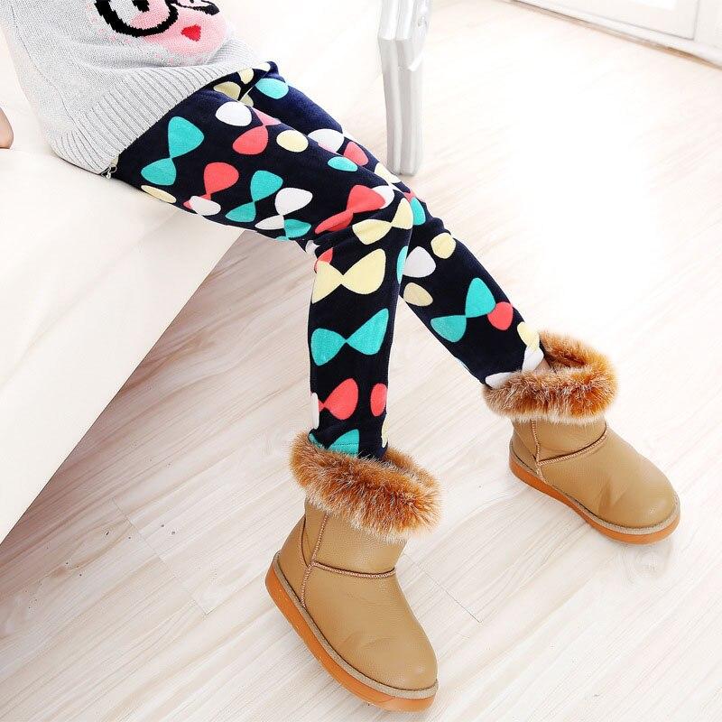 Детские штаны, осенне-зимние леггинсы для малышей, штаны для девочек с разноцветным принтом в виде цветов и бабочек - Цвет: 14