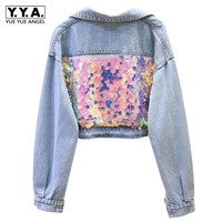 2019 New Women Short Boyfriend Loose Fit Hip Hop Denim Jacket Shiny Sequined Hole Ripped Casual Batwing Sleeve Coat Streetwear