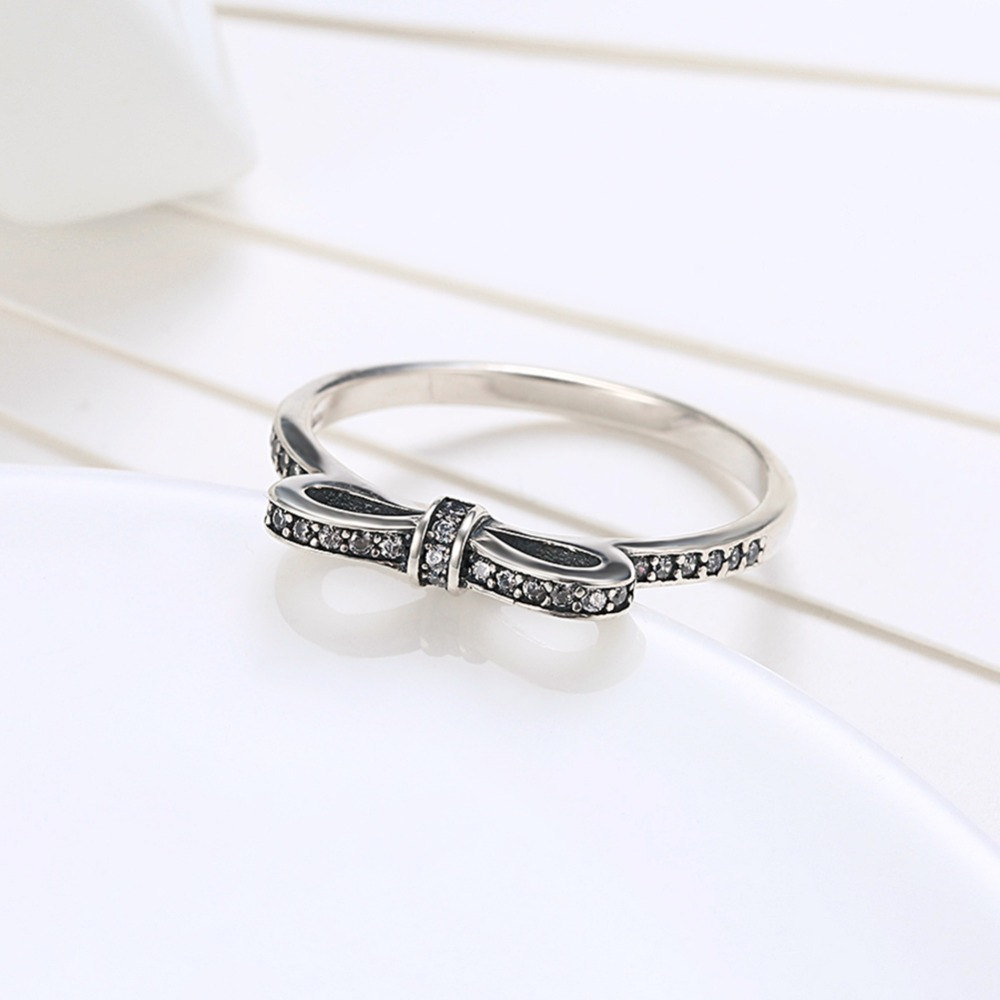 2017 Hot Sale Real 925 Sterling Silver Bowknot Ring with AAA Zircon Woman Fashion Party Jewelry Valentine s Day gift anel
