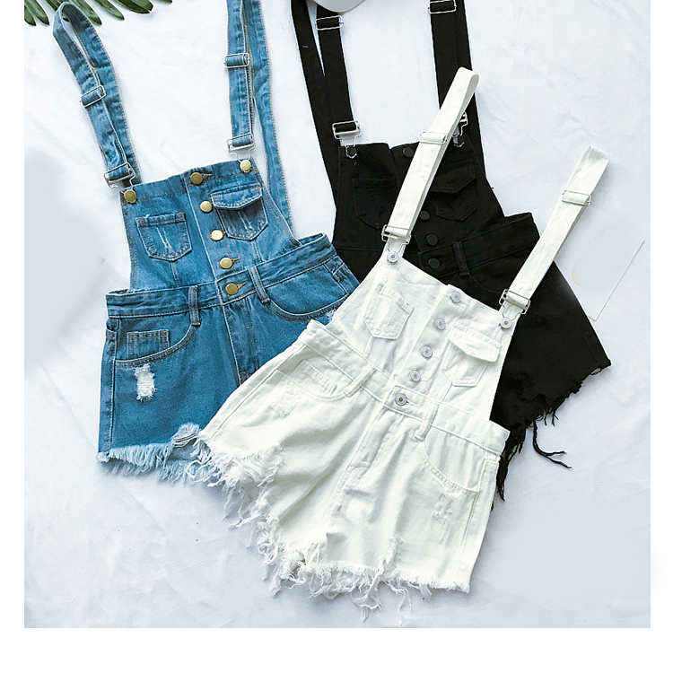 New style college wind cowboys back to wear shorts women summer holes loose Korean version of students show thin suspenders pants (3)