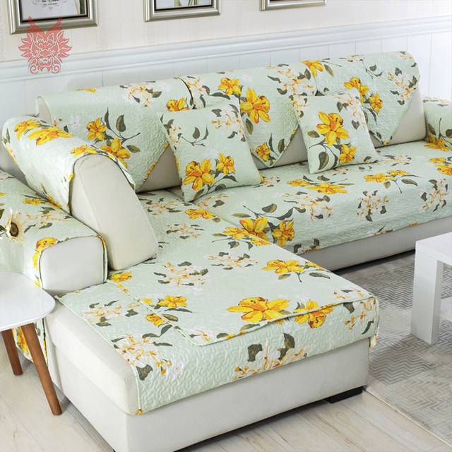 Pastoral Green Yellow Floral Print Quilted Sectional Sofa Cover Slipcovers  Anti Slip Fundas De Sofa
