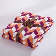 Cozzy Новый Трикотажные Бросить Одеяло для Диван-Кровать Диван 100% Хлопок Многоцветный Ромб (Алмаз) Фиолетовый-оранжевый-белый Размер 120×180 см