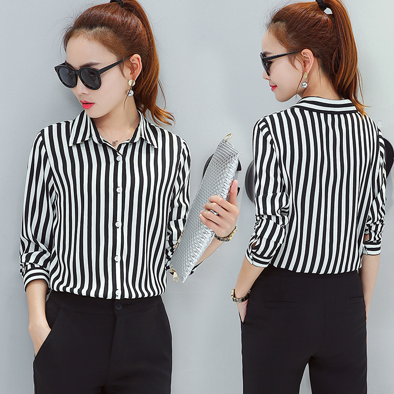 ih V Neck Long Sleeve Casual   Shirt   Red Black Striped Office Lady Work   Blouse   2019 Spring Autumn New Fashion Turn Down Collar Top