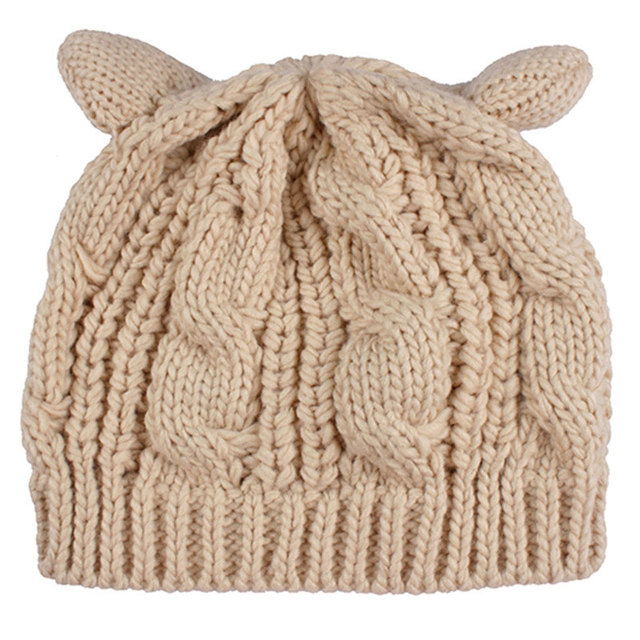 b86f898ee5b6c Ladies Girls Cat Ears Hat Cable Knit Cap Winter Fashion Crochet Braided  Beanies for Women