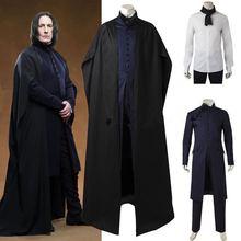 Мужские костюмы волшебного Гарри на Хеллоуин, мужские костюмы, костюм профессора Северуса Снейпа, черный костюм, костюмы Снейпа с накидкой, ролевые костюмы