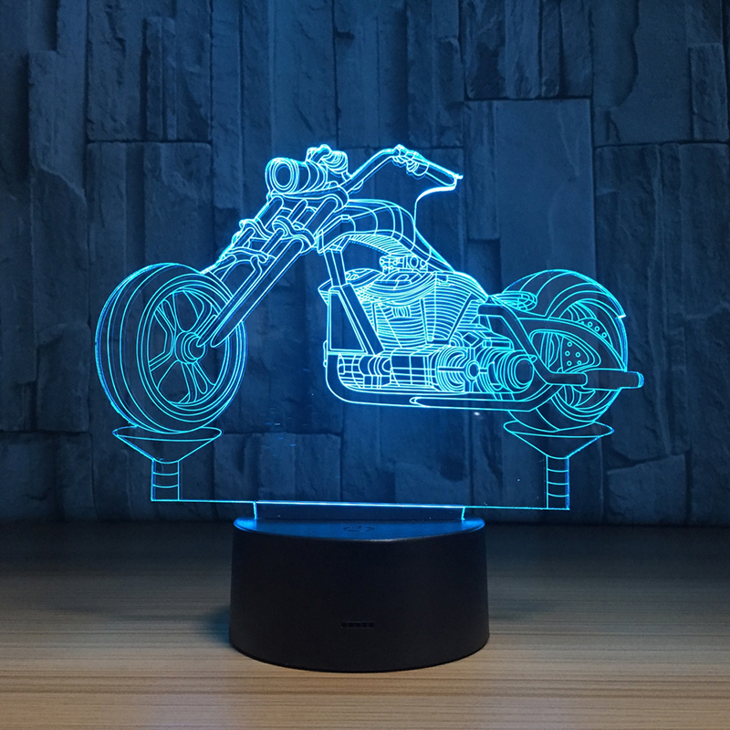 3D LED Moto Moulding 7 Color Changing Acrylic 3D Illusion Desk light Bedroom Residential Novelty USB Night Light Motorcycle free shipping 7 color changing glowing cartoon spongebob patrick star acrylic 3d led night light usb 3d led table lamps