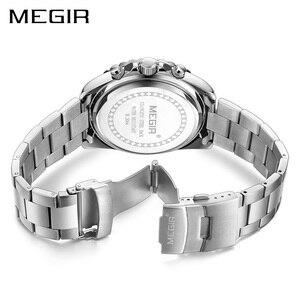 Image 3 - ساعة رجالي من MEGIR ساعة يد فاخرة من ماركة كرونوغراف كوارتز ساعات معصم للأعمال من الفولاذ المقاوم للصدأ ساعة رجالية