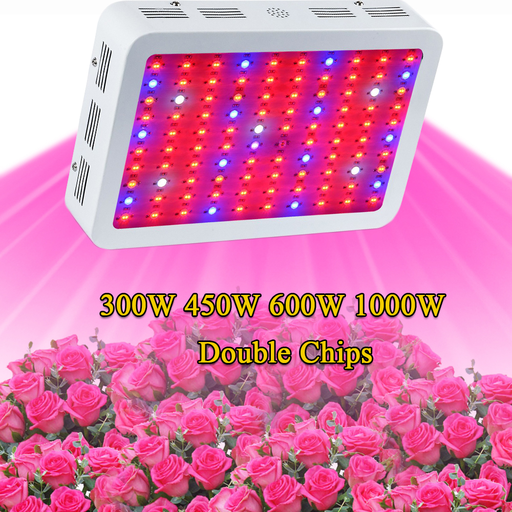 Double Chip LED Grow Light lamps Full Spectrum 300W 450W 600W 1000W  Red/Blue/White/UV/IR For Hydroponics Indoor Plants 7 band 8 band 200w cob led grow chip full spectrum red blue uv ir white led plant grow chip 2 channel output for hydroponics