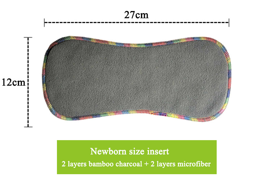Купить с кэшбэком 4Pcs Newborn Pocket Cloth Diaper NB Baby Diaper Charcoal Bamboo Lining Waterproof Minky PUL Outer Fit 2-4kg Babies
