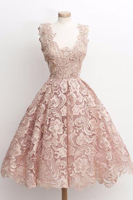 2017 de imagen real llena del cordón de cóctel vintage dress 2017 a-line v-cuello simple vestidos de fiesta sexy espalda abierta de la muchacha prom dress