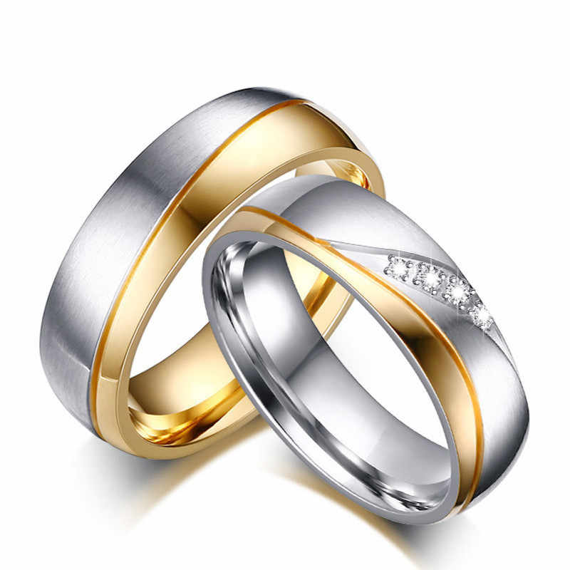 Romantic Wedding Rings For Lover Men Gold-Color Stainless Steel Couple Rings Women Crystal Anti-allergy Engagement Rings Gift