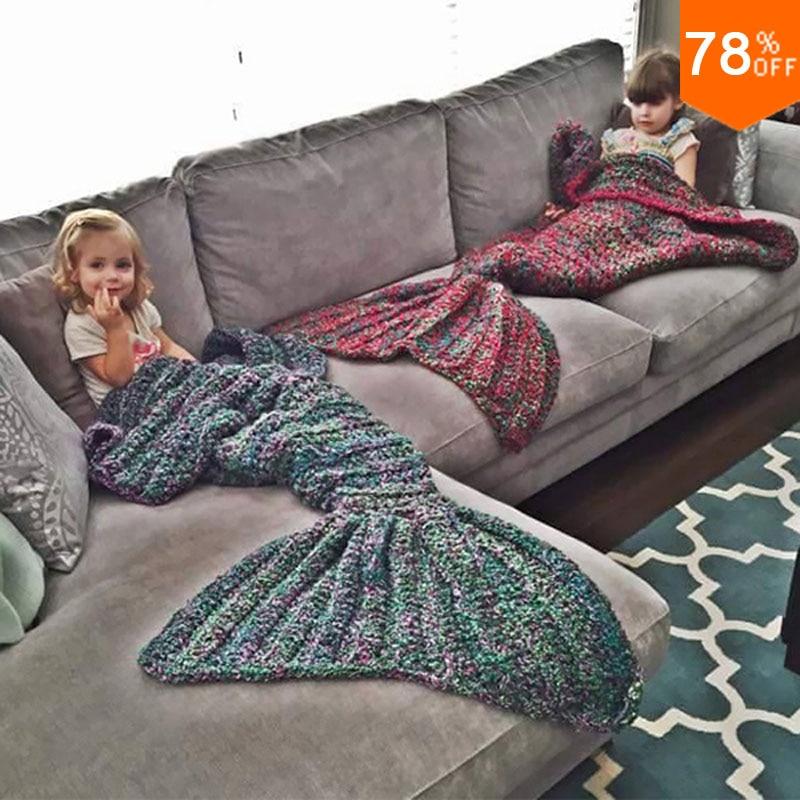 Привет Русалка Одеяло красоты рыба узор крючком хвост русалки, Вязанное одеяло «хвост русалки» отличный дизайн подарок для детей и жена