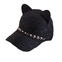 Women's Cat ears Baseball Cap Warm Winter Hats Knitted baseball cap Fashion Rivets Visor Cap for Ladies Snapback Hat fashion women s rivets and sewing thread embellished baseball cap