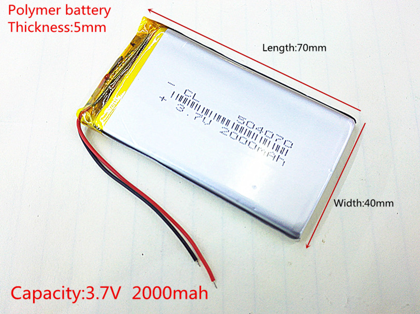 Polymer battery 2000 mah 3.7 V 504070 smart home MP3 speakers Li-ion battery for dvr,GPS,mp3,mp4,cell phone,speaker polymer battery 600 mah 3 7 v 602244 smart home mp3 speakers li ion battery for dvr gps mp3 mp4 cell phone speaker