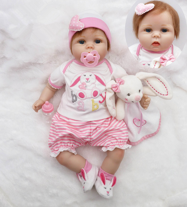 55cm Soft Silicone Reborn Baby Doll Toys Like Real 22inch Newborn Princess Toddler Dolls With Plush Bear Fashion Birthday Gift 2016 hot selling 22cm the first sofia princess dolls toys sophia clover cartoo toys rabbit plush doll