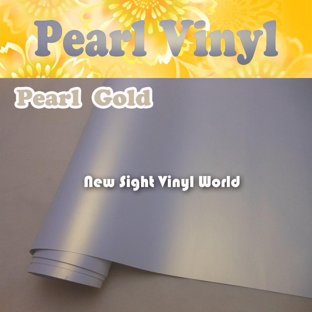 Premium White Gold Matte Chameleon Pearl Vinyl Roll Satin Pearl Chameleon Vinyl Film Air Free Bubble Car Wrap Size:1.52*20M/Roll