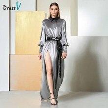 Dressv evening dress long sleeves draped zipper up floor length split front wedding party formal dress a line evening dresses