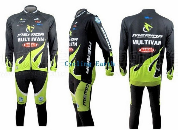 2010 Merida green cycling Team wear clothes tights bicycle MTB Road bike riding cycle long sleeve jersey Z123 sets kits