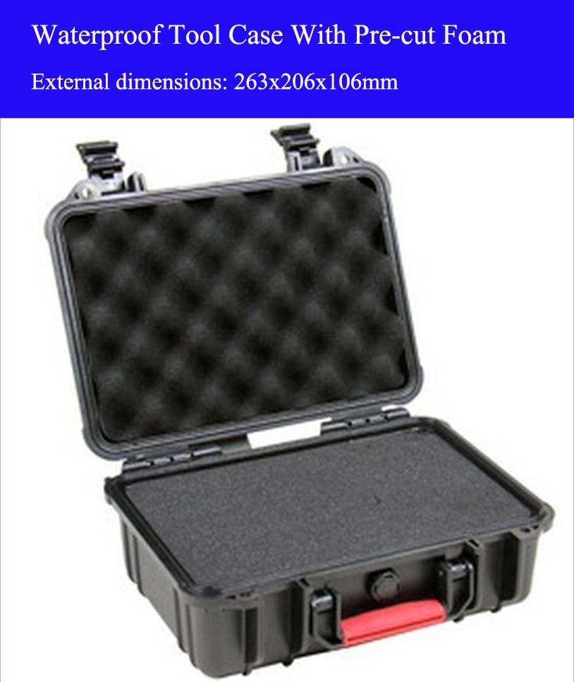 263x206x106mm ABS Įrankių dėklo įrankių dėžė Smūgiams atspari, hermetiška, vandeniui atspari apsauginė dėžės įranga, fotoaparato dėklas su iš anksto supjaustytomis putomis
