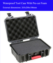 263x206x106mm ABS Tool case toolbox Impact resistant sealed waterproof safety equipment camera with pre-cut foam