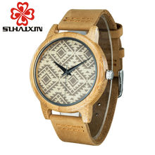 SIHAIXIN Bamboo Wooden Watches men women leather band quartz lovers couple watch top Luxury Brand relogio masculino fashion saat