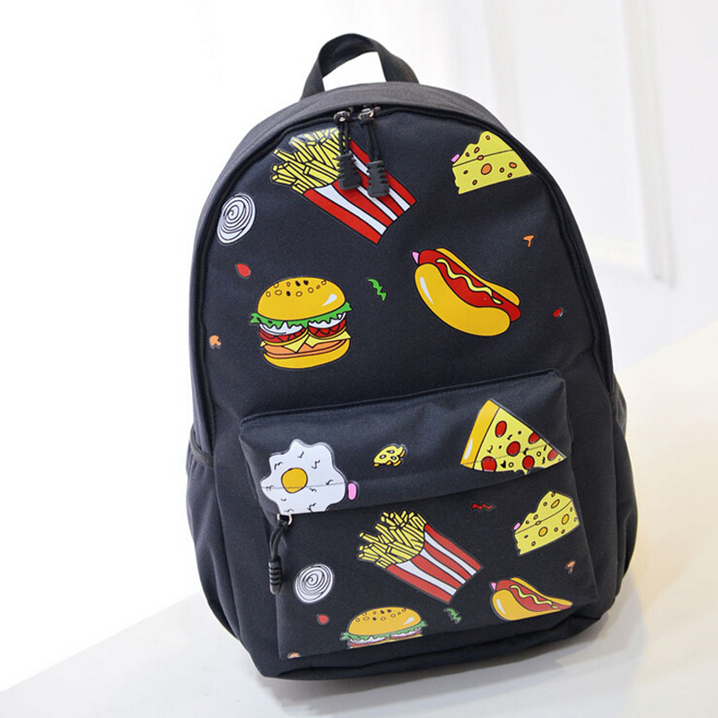 Autumn And Winter New Fashion Food Fries Hamburger Schoolbags Pattern Printing Casual Bags Backpacks For Teenage Girls APB21  veevanv new fashion women s backpacks audrey hepburn printing backpacks for teenage boy girls casual bags for fans best gifts