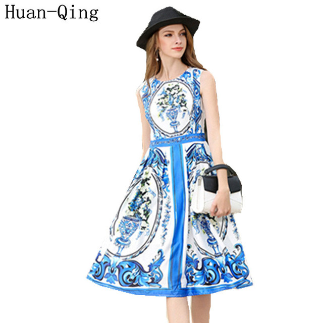 Vintage Blue And White Porcelain Printing Tank Slim Dress Runway Women Sexy Sleeveless Office Vestido Party Dresses Plus Size