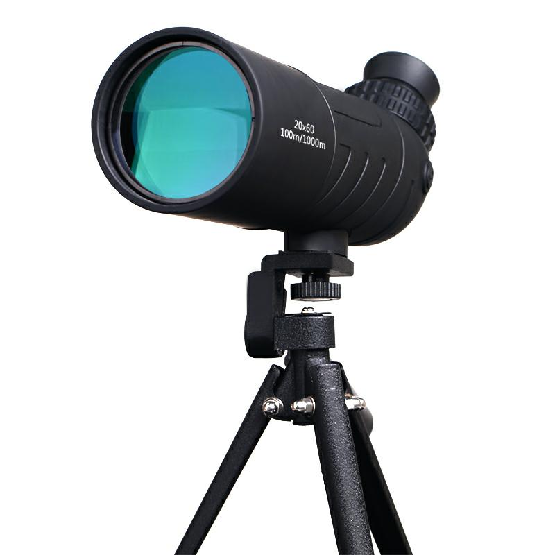 Spotting scope 20x60 traveler monocular telescope high-power 20x magnification bird watching monocular with table tripod sets hot selling 15 40x50 zoom hd monocular bird watching telescope binoculars with portable tripod spotting scope blue coating