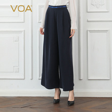 VOA Palazzo Pants Women High Waist Heavy Silk Wide Leg Pants Ladies Trousers Loose Casual Plus Size broeken K792 недорого