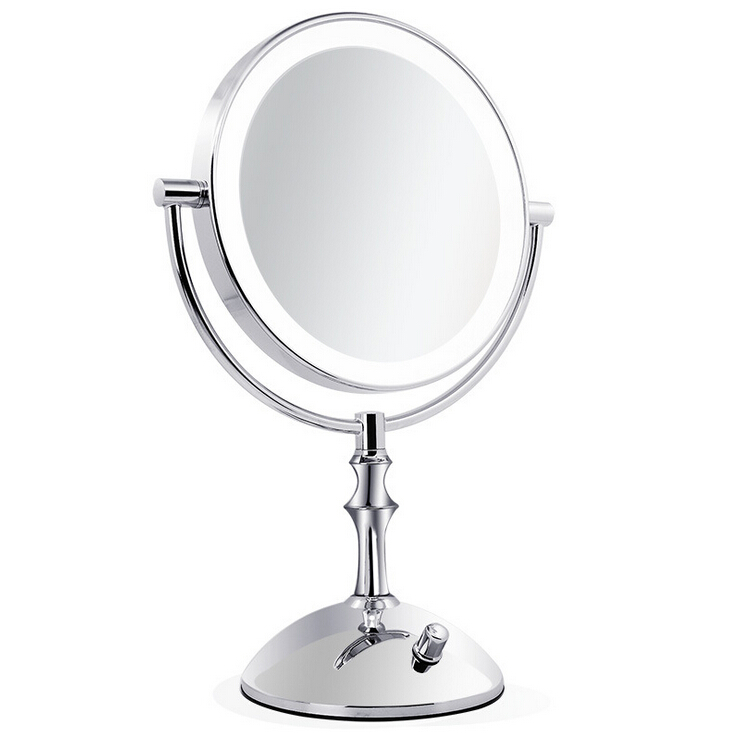 Professional makeup mirror with light 8 Inch led compact cosmetic mirror lady's 3X Double Sided magnifying espelho bath mirror large 8 inch fashion high definition desktop makeup mirror 2 face metal bathroom mirror 3x magnifying round pin 360 rotating