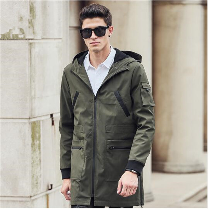 Pioneer Camp 2018 New Trench Coat Men Brand Clothing Top Quality Male Long Army Green Trench Coat Windbreaker Jacket