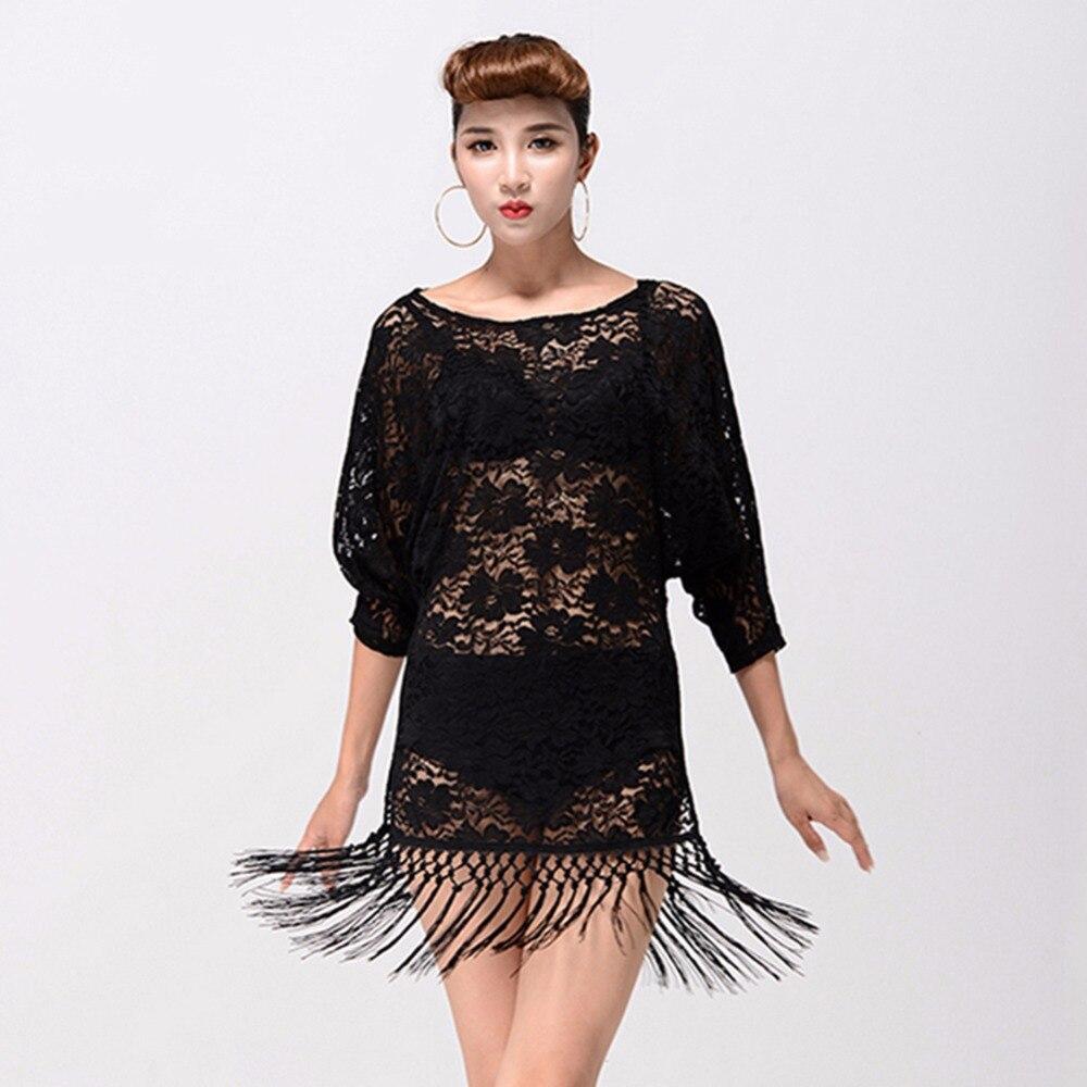 Haute qualité danse latine chemise pour dames noir gratuit Leggings robe femmes Arena Club Roupas De Menino salon tissu 13161