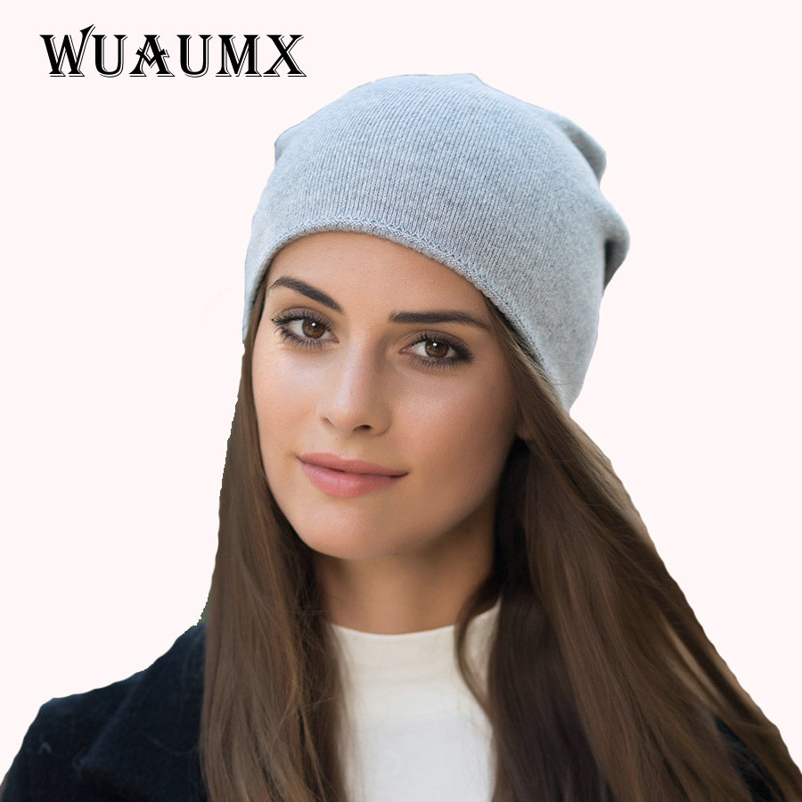 Wuaumx Branded Women's Autumn Winter Hat Beanies Hat Female Skullies Thick Warm Wool Knitted Outdoor Ski Cap Casual Chapeau