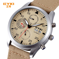 New EYKI Brand Automatic Mechanical Sport Watches Men Luxury Brand Fabric Band Years Month Week Date