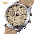 Eyki mecânica militar do exército tecido correia relógios homens marca de luxo relógio automático homens ano mês semana data relógio de pulso relógio