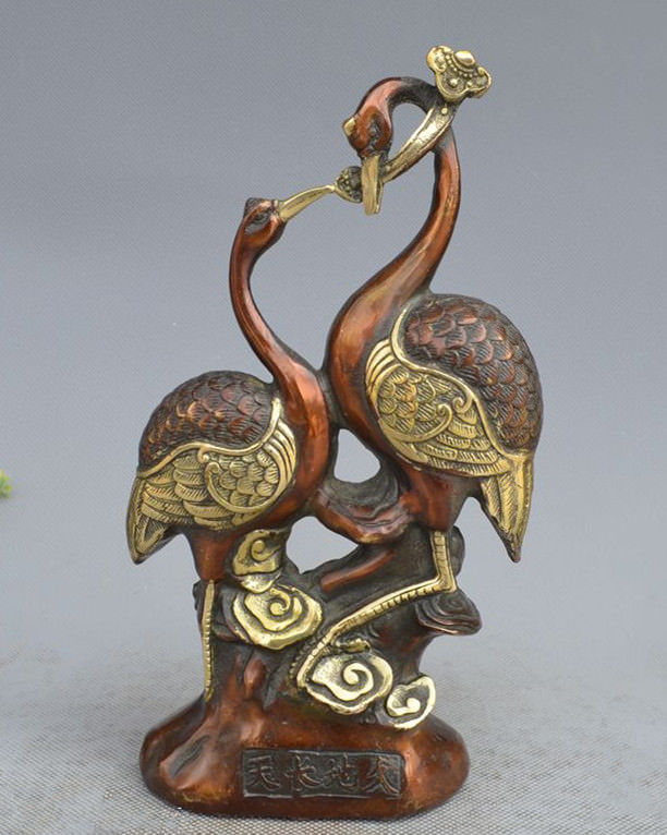 Chinese Copper Gilt Hand Carved Crane&Ruyi StatueChinese Copper Gilt Hand Carved Crane&Ruyi Statue