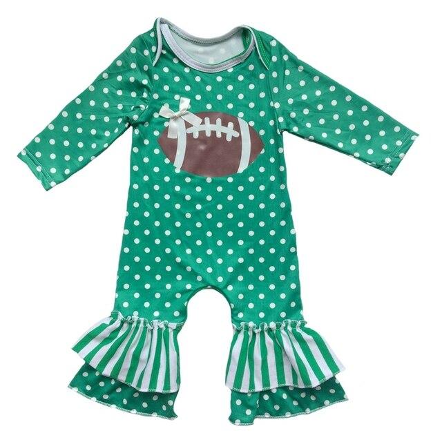 0761e189a16f vinyl heated Football Newborn green Polka Dots stripes clothing set ...