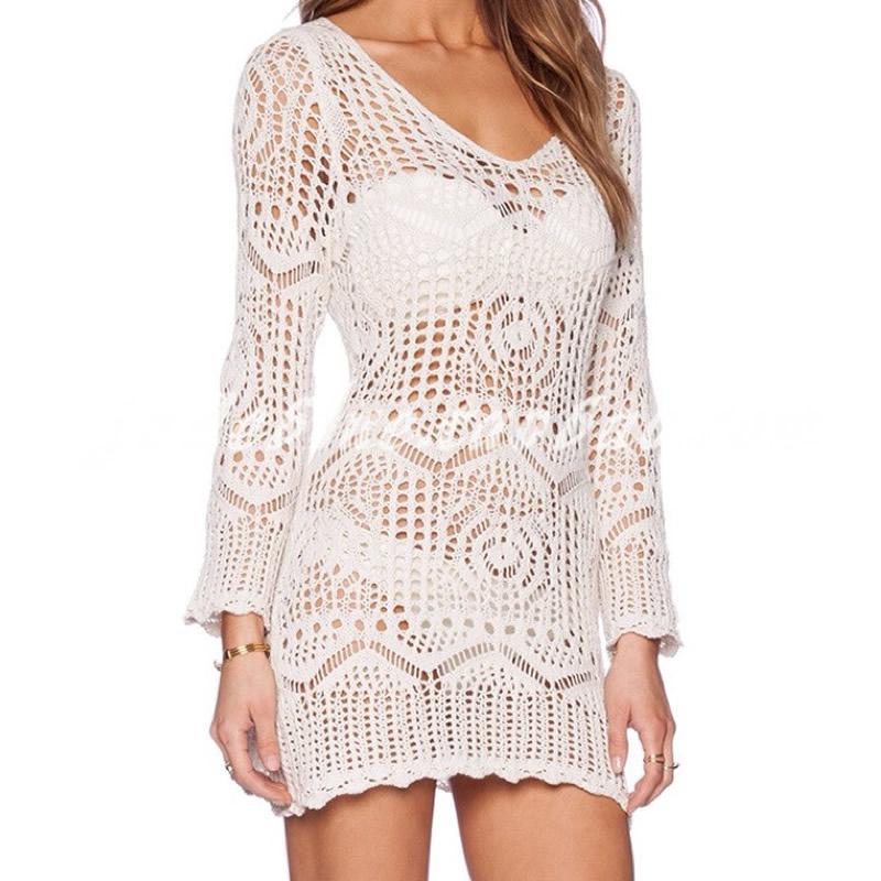 Crochet White Lace Beach Cover Up beach women sexy bikini cover up solid hollow dress deep v Sarong Wear