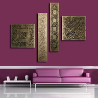 Hand painted Bronze Oil Painting 4 Panel Pictures Wall Art Sets Modern Home Abstract Graffiti Canvas Paintings for Living Room