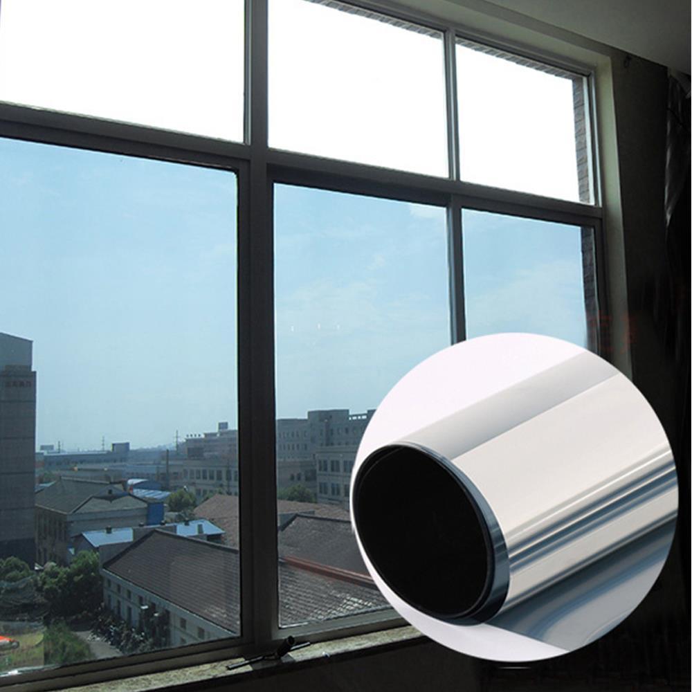 Ev ve Bahçe'ten Dekoratif Filmler'de 90 cm x 10 m pencere filmi Tek Yönlü Ayna Gümüş Yalıtım Çıkartmalar Güneş Yansıtıcı Ev Dekorasyon Malzemeleri'da  Grup 1