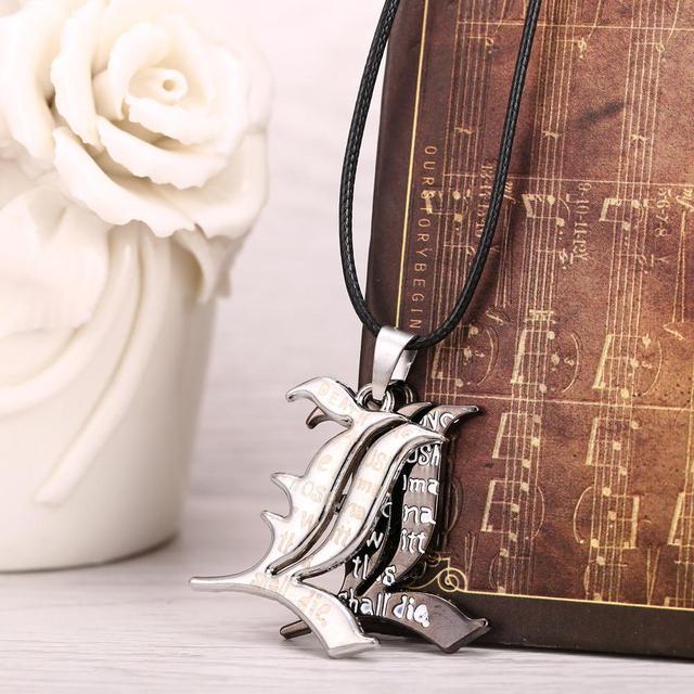 Anime Death Note Black Gold Metal Cross Logo Pendant Notebook Necklace