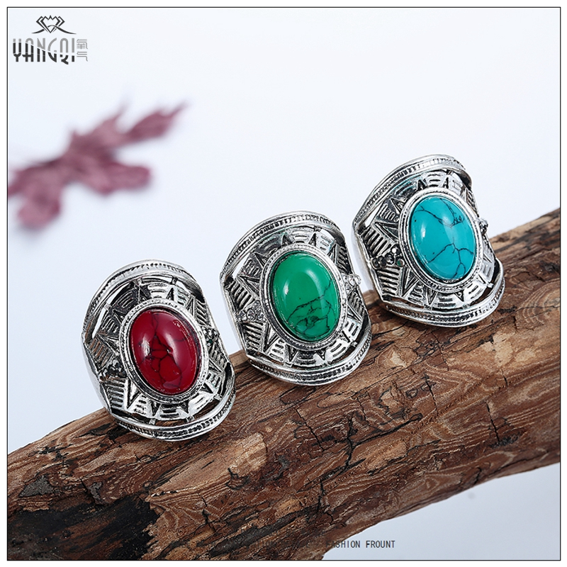Punk Men Lord Bague Calaite Stone Stone Craved Tibetan Silver Rings Femme Calaite Stone Jewelry Party Gifts