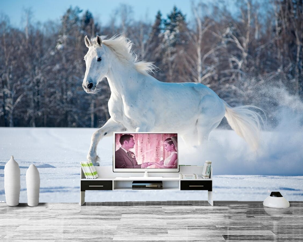 papel de parede Horses Winter White Snow Run Animals photo wallpaper,living room sofa TV wall bedroom restaurant custom murals custom mural papel de parede foxes water stones animals wallpaper restaurant living room tv sofa wall bedroom 3d wallpaper