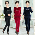 Plus size XL-4XL Women Casual sets Autumn winter Gold velvet Set Long-sleeved O Neck Tops Elastic Waist Pants J436