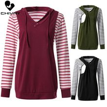 2019 Spring Autumn Maternity Tops Breastfeeding Clothes Stripe Long Sleeve Hooded Pregnant Women Nursing Tops Pregnancy T Shirt цена и фото